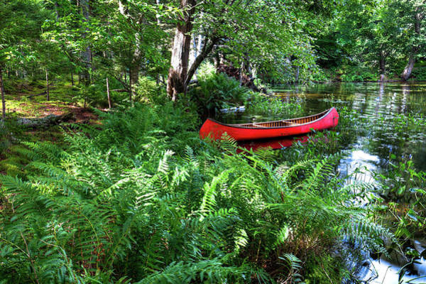 Chain Of Lakes Photograph - Red Canoe In The Adk by David Patterson