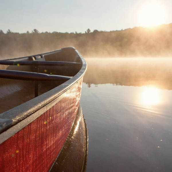 Catskills Photograph - Red Canoe On Misty Lake by Stephanie McDowell