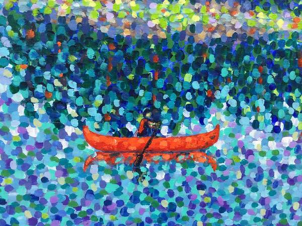 Painting - Red Canoe On The Lake by Cristina Stefan