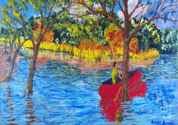 Painting - Red Canoe by Walt Brodis