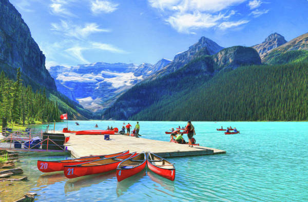 Photograph - Red Canoes  Of Lake Louise - Banff National Park Canada by Ola Allen