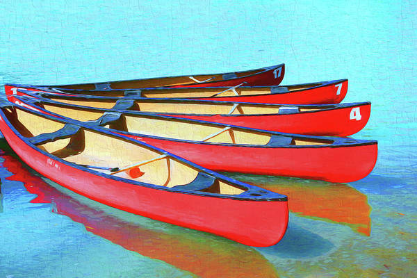 Photograph - Red Canoes - Lake Louise by Ola Allen