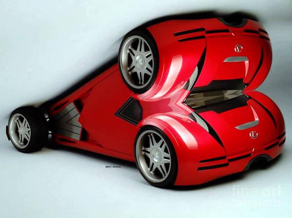 Digital Art - Red Car 007 by Rafael Salazar