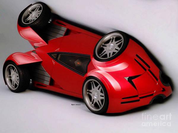 Digital Art - Red Car 009 by Rafael Salazar