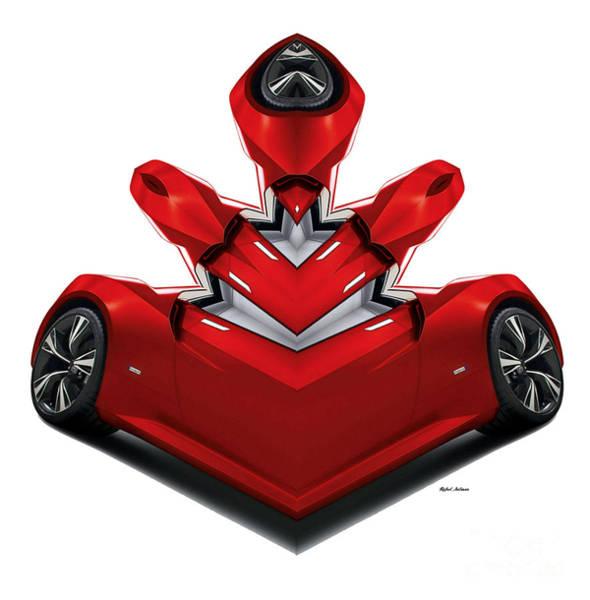Digital Art - Red Car 0905 by Rafael Salazar