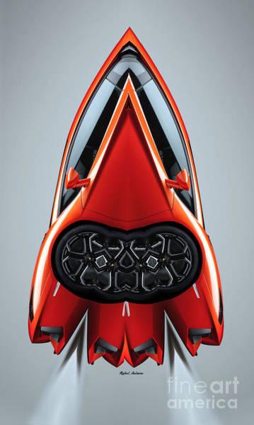 Digital Art - Red Car 0910 by Rafael Salazar