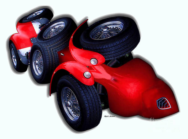 Digital Art - Red Car 0938 by Rafael Salazar