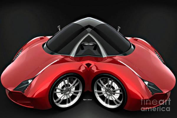 Digital Art - Red Car 0959 by Rafael Salazar