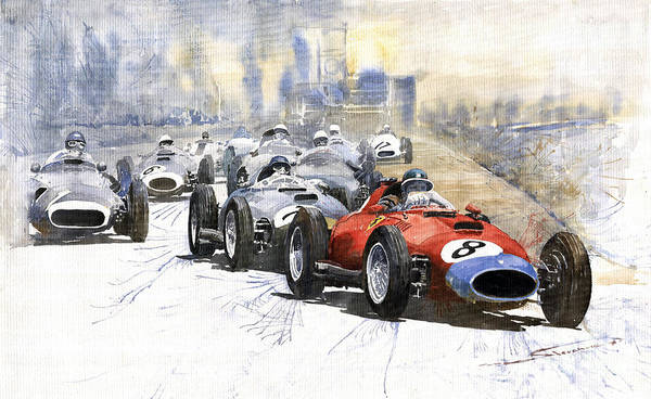 Ferrari Wall Art - Painting - 1957 Red Car Ferrari 801 German Gp 1957  by Yuriy Shevchuk