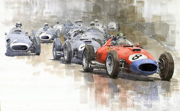 1957 Wall Art - Painting - Red Car Ferrari 801mike Hawthorn German Gp 1957  by Yuriy Shevchuk