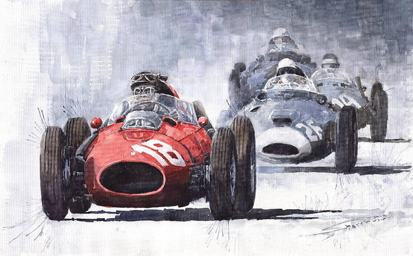 Ferrari Painting - Red Car Ferrari D426 1958 Monza Phill Hill by Yuriy Shevchuk