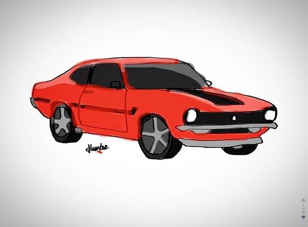 Elliott Digital Art - Red Car by Hunter Elliott