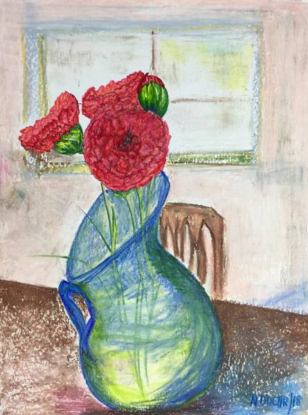 Mixed Media - Red Carnations by Norma Duch