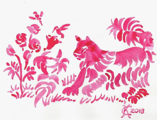 Painting - Red Cat Florals Direct Watercolor by Catinka Knoth