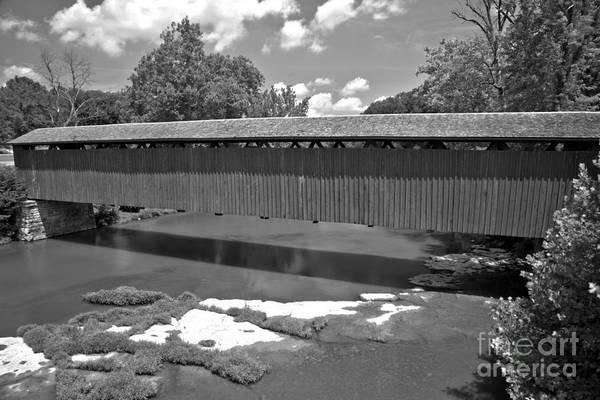 Photograph - Red Cataract Covered Bridge Black And White by Adam Jewell