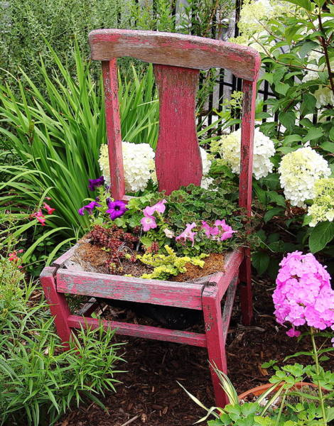 Photograph - Red Chair Planter by Allen Nice-Webb