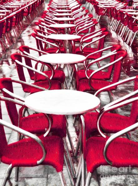 Photograph - Red Chairs In Venice by Mel Steinhauer