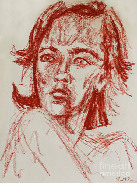 Wall Art - Drawing - Red Charcoal Sketch 6481 by Robert Yaeger