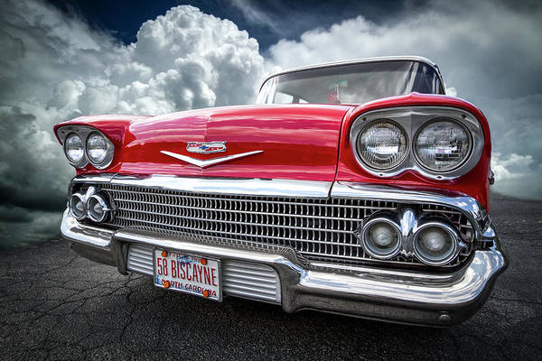 Wall Art - Photograph - Red Chevrolet Biscayne 1958 by Debra and Dave Vanderlaan