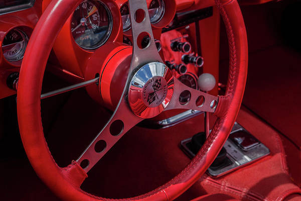 Wall Art - Photograph - Red Chevrolet Corvette Steering Wheel by Iris Richardson