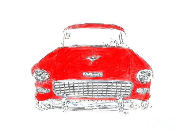 Old Car Drawing - Red Chevy T-shirt by Edward Fielding