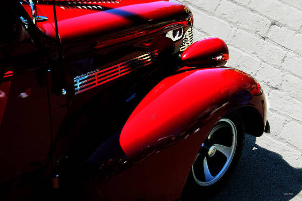 Photograph - Red Chevy White Brick by Lesa Fine