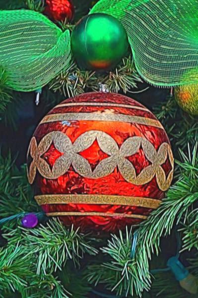 Mixed Media - Red Christmas Ball by Pamela Walton
