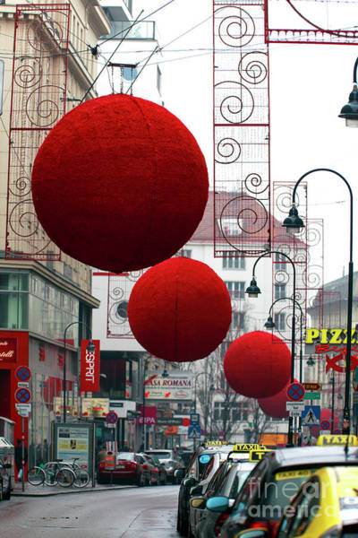 Photograph - Red Christmas Balls In Vienna by John Rizzuto