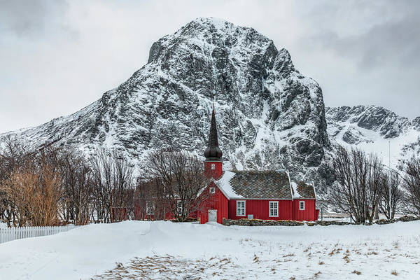 Wall Art - Photograph - Red Church In The Snow by Joana Kruse