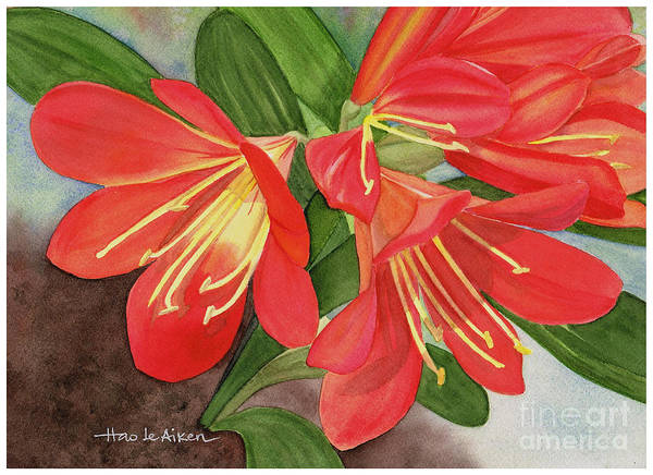 Clivia Wall Art - Painting - Red Clivias - Watercolor by Hao Aiken