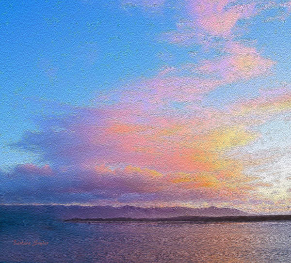 Morro Bay Painting - Red Clouds Over Morro Bay Small Painting by Barbara Snyder