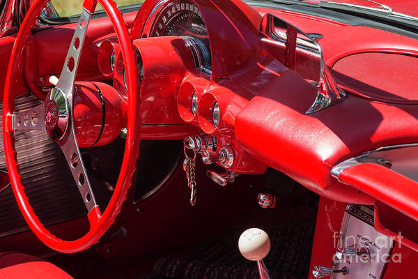 Photograph - Red Corvette Steering Wheel And Ignition by Les Palenik