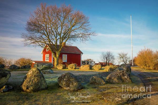 Sverige Photograph - Red Cottage by Inge Johnsson