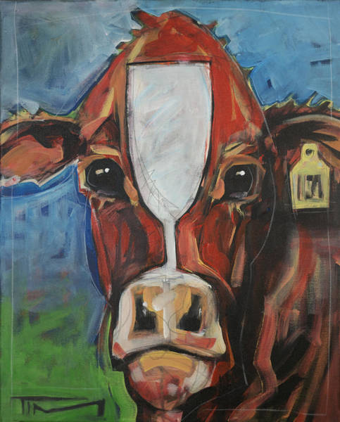 Painting - Red Cow With Wineglass Marking by Tim Nyberg