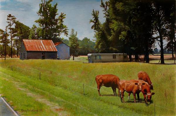 Wall Art - Painting - Red Cows On Grapevine Road by Doug Strickland