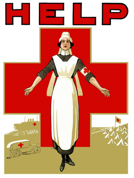 Wall Art - Painting - Red Cross Nurse - Help by War Is Hell Store