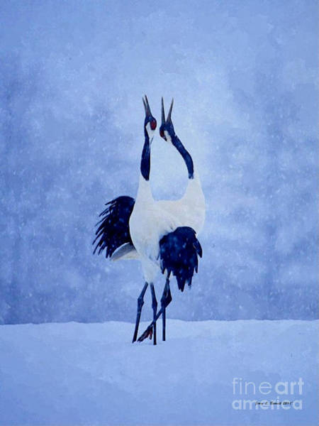 Mixed Media - Red Crowned Cranes by Jerry L Barrett
