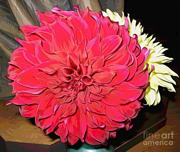 Mixed Media - Red Dahlia Flower With Melting Colors Effect by Rose Santuci-Sofranko