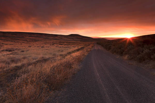 Country Road Photograph - Red Dawn by Mike  Dawson