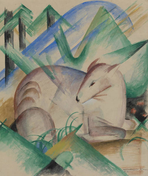 The Blue Rider Wall Art - Painting - Red Deer by Franz Marc