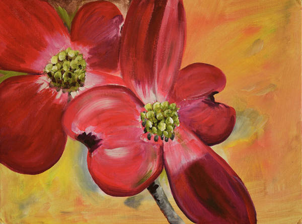 Painting - Red Dogwood - Canvas Wine Art by Jan Dappen