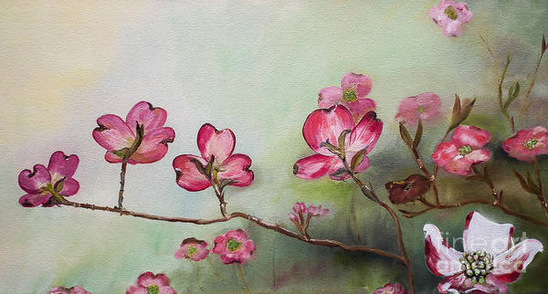 Painting - Red Dogwood - Cherokee - Springtime by Jan Dappen