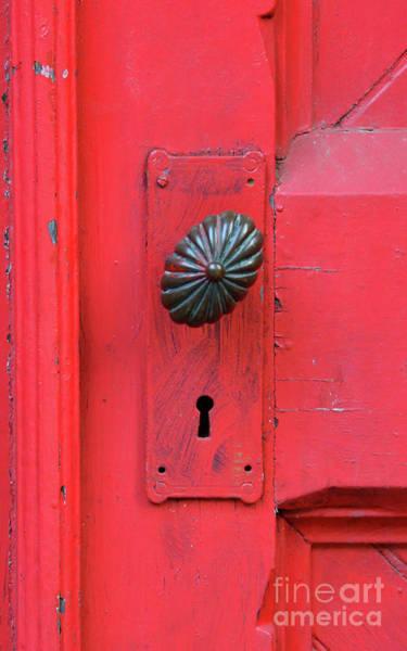 Wall Art - Photograph - Red Door With Ornate Knob by Jill Battaglia