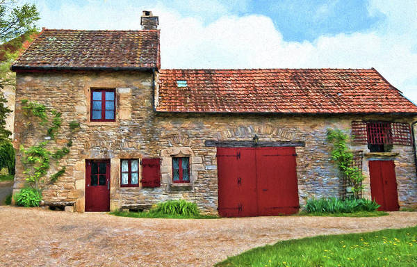 Chateauneuf Photograph - Red Doors, House, Chateauneuf, Cote-d'or, France by Curt Rush