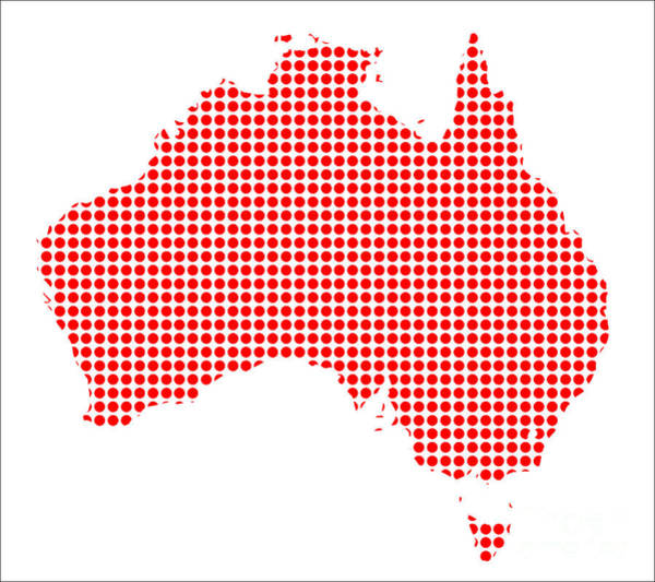 Perforations Digital Art - Red Dot Map Of Australia by Bigalbaloo Stock
