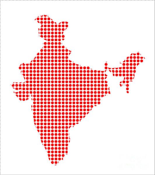 Perforations Digital Art - Red Dot Map Of India by Bigalbaloo Stock