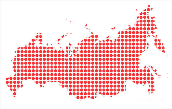 Perforations Digital Art - Red Dot Map Of Russia by Bigalbaloo Stock