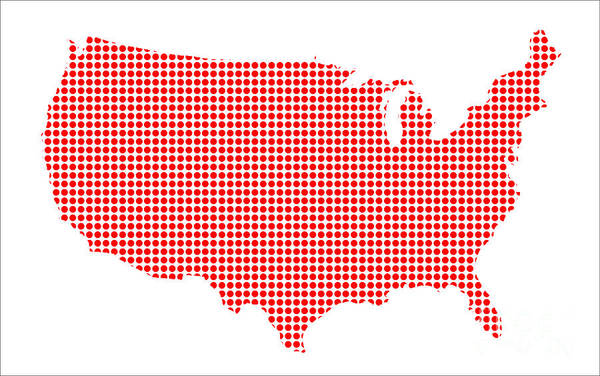 Perforations Digital Art - Red Dot Map Of The U.s.of A. by Bigalbaloo Stock