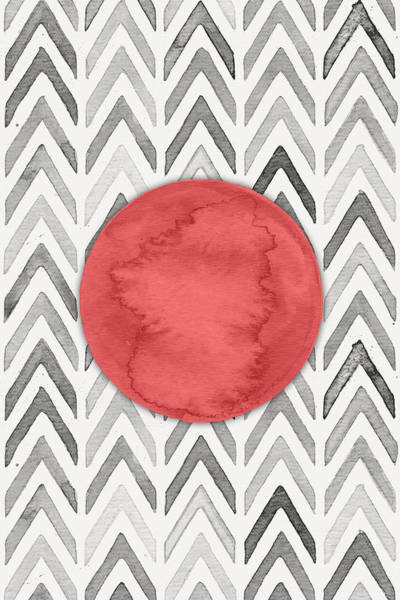 Moon Digital Art - Red Dot On Chevron Watercolor Pattern  by Nordic Print Studio