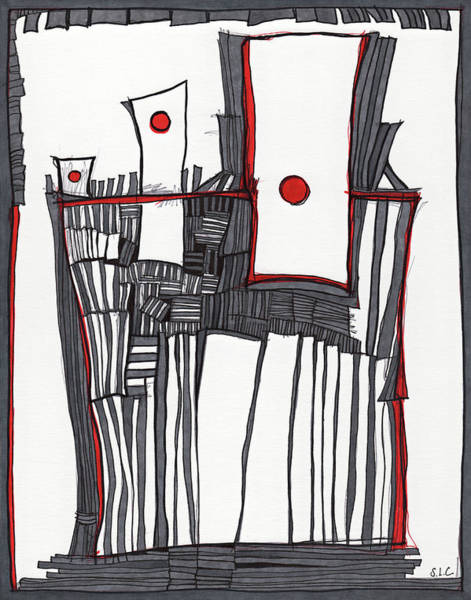 Semi Abstract Drawing - Red Dot Village by Sandra Church